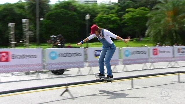 Jogos Urbanos: Confira a prova do corrimão em distância no skate diversão