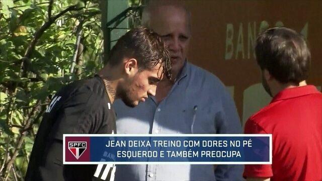 Jean deixa treino do São Paulo com dores no pé esquerdo e preocupa para clássico