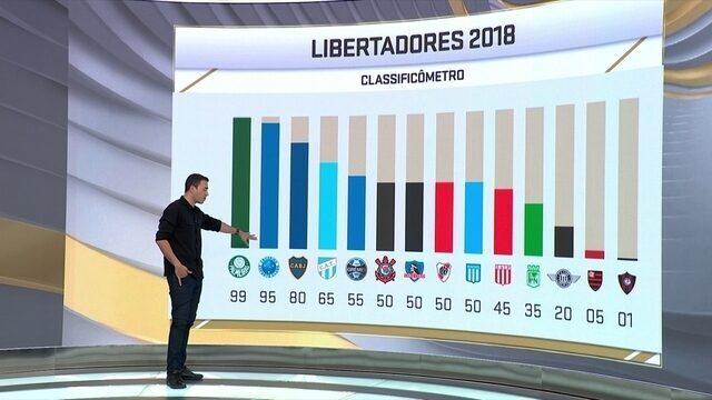 Seleção aponta chances de classificação na Libertadores: Flamengo 5% e Palmeiras 99%