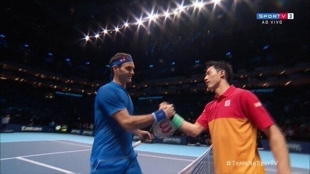 Pontos finais de Roger Federer 0 x 2 Kei Nishikori pelo Torneio dos Campeões da ATP