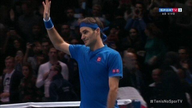 Pontos finais: Roger Federer 2 x 0 Dominic Thiem pelo Torneio dos Campeões da ATP