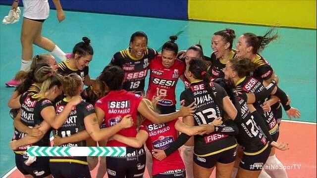 Melhores momentos de Sesi/Bauru 3 x 1 Sesc/Rio pelas quartas da Superliga Feminina de Vôlei