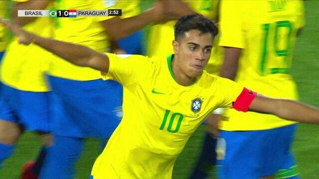 Os gols de Brasil 3 x 2 Paraguai pelo Su-Americano Sub-17 2019