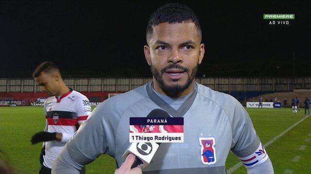 Thiago Rodrigues comenta empate do Paraná com Atlético-GO