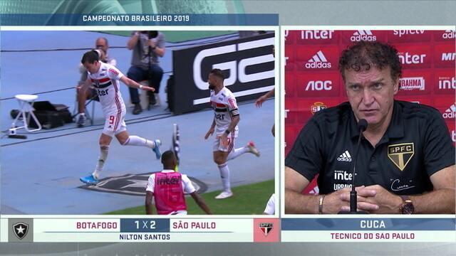 """Após vitória sobre o Botafogo, Cuca comenta vitória do São Paulo: """"Merecemos vencer pelo que produzimos"""""""