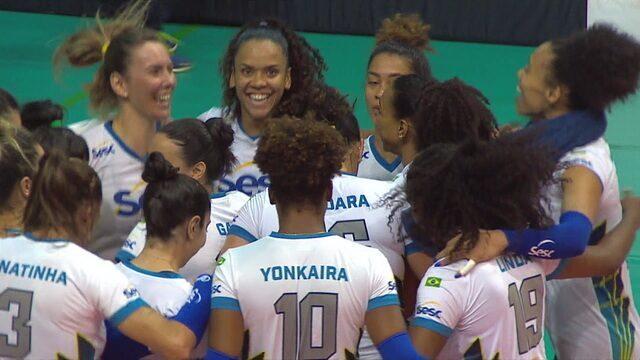 Pontos finais de SESC-RJ 3 x 0 Flamengo pela final do Campeonato Carioca de vôlei feminino