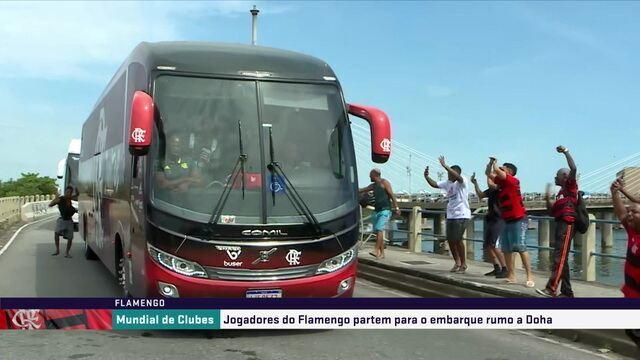 Ônibus do Flamengo chega ao aeroporto