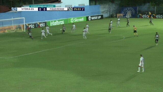 Cruzamento de Lucas passa na frente do gol do Vitória, e Harrison dá um tapinha na bola, aos 25' do 1º tempo