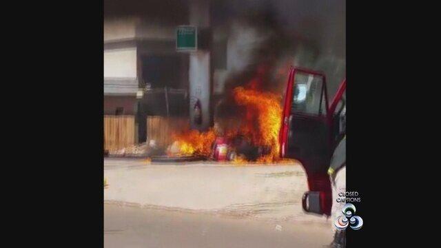 G1 - Vídeo mostra <b>posto</b> de combustível <b>pegando fogo</b> após batida de <b>...</b> 2014