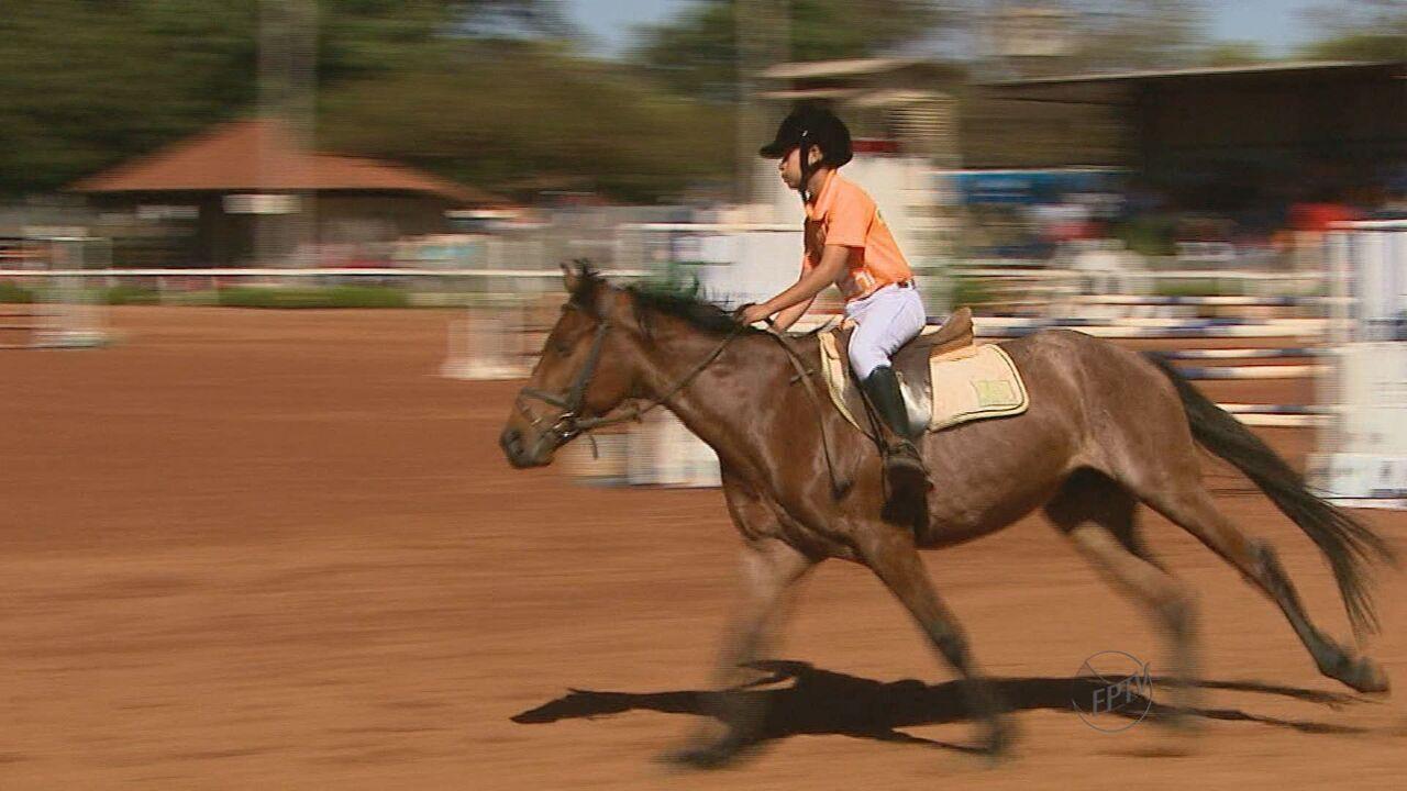 a47e32b6e Crianças têm aula de hipismo no último dia da Festa do Cavalo de Colina -  G1 Ribeirão Preto  Franca - Bom Dia Cidade - Catálogo de vídeos - Catálogo  de ...