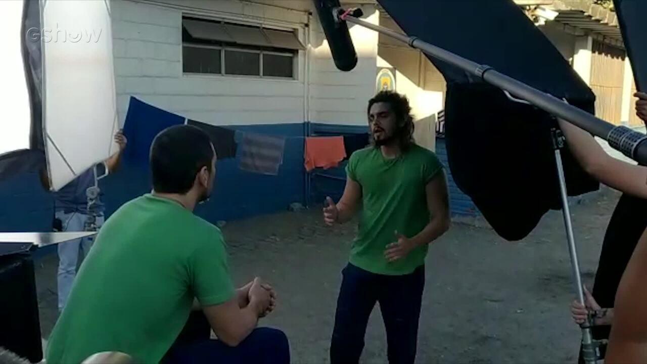 Veja os bastisdores da participação especial de Luan Santana na última cena de Lázaro