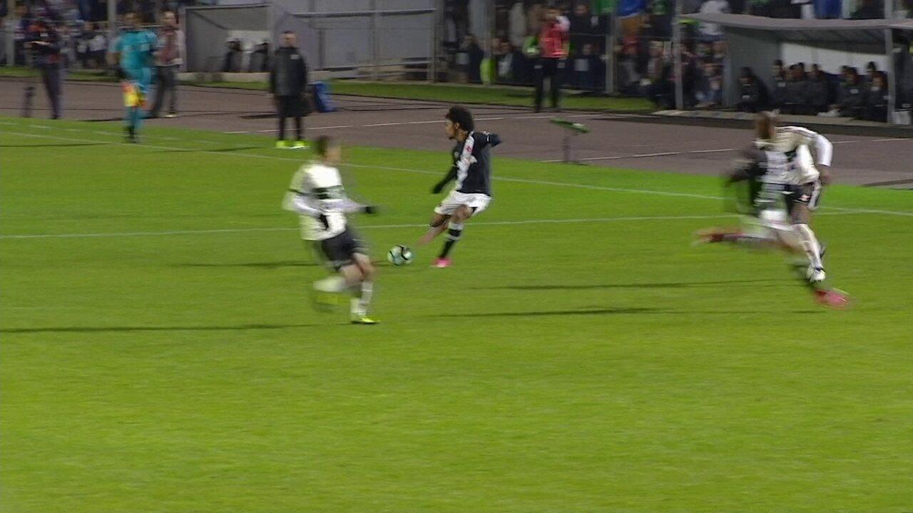 Coritiba empata com o Vasco com dois gols de Kleber