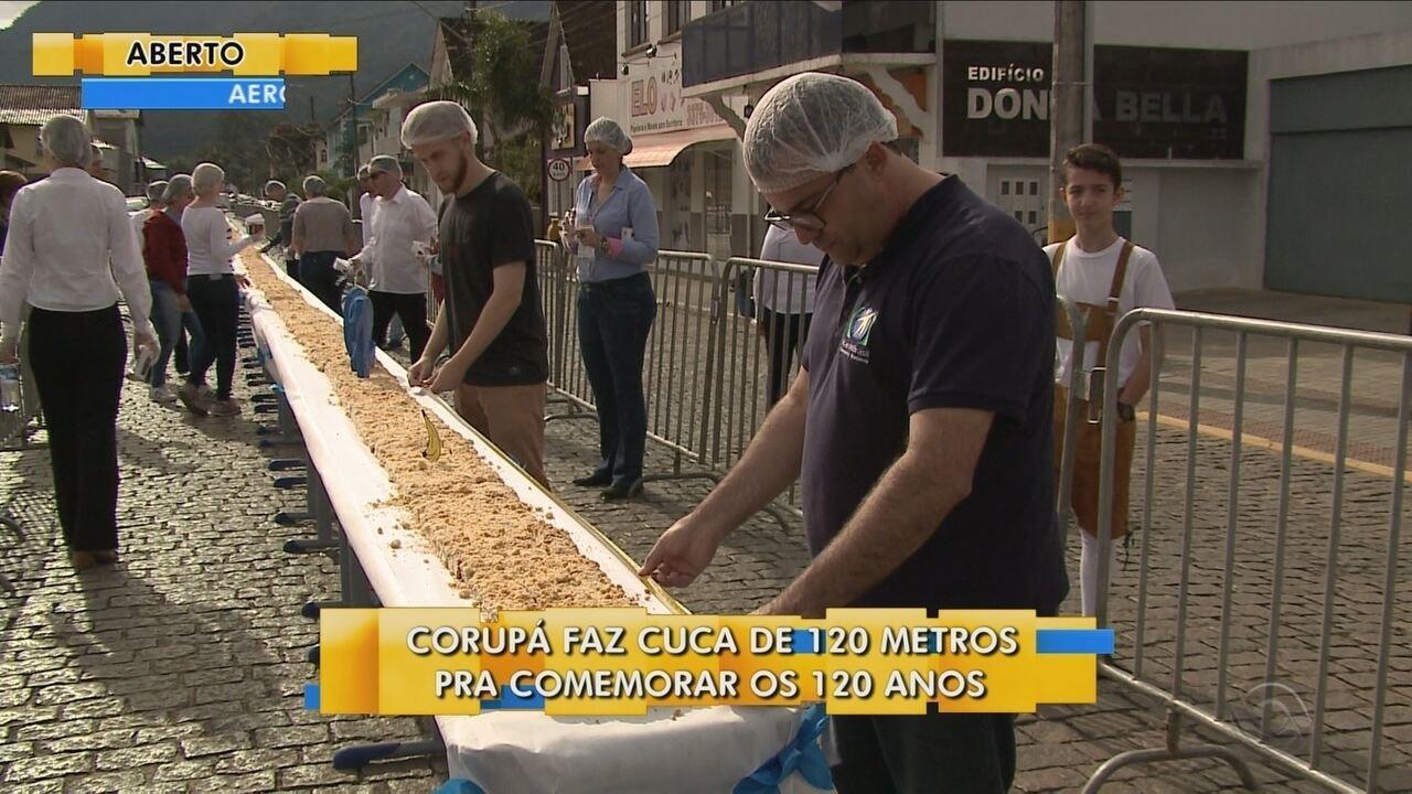 Corupá faz cuca de 120 metros para comemorar os 120 anos da cidade