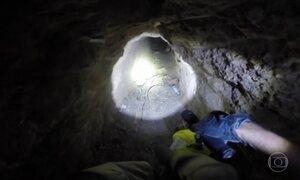 Túnel usado para tráfico é descoberto na fronteira do México com os EUA