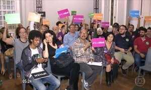 Artistas protestam contra fim do Ministério da Cultura