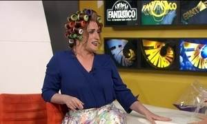 Dona Hermínia faz visita surpresa ao Fantástico