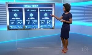 Confira a previsão do tempo para a terça-feira (25) em todo o país