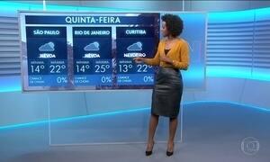 Confira a previsão do tempo para a quinta-feira (24) em todo o país