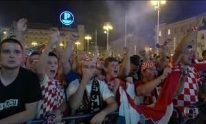 Zagreb comemora classificação da Croácia para a semifinal da Copa