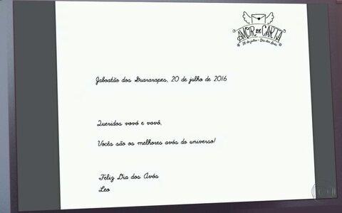 Globo Nordeste entrega carta para os avós (Divulgação)