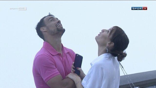 Antes do Rio Open, Fognini leva a  noiva Pennetta para topo do Cristo