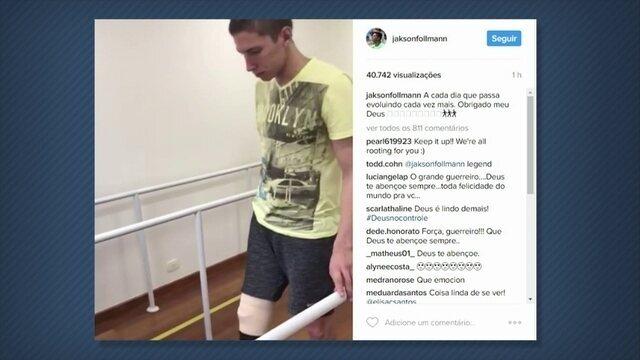 Follmann anda pela primeira vez com prótese sem apoio