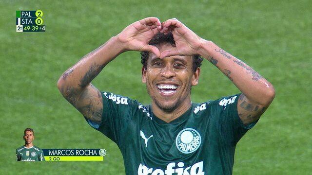 Gol do Palmeiras! Marcos Rocha aproveita a sobra após chute de Zé Rafael e amplia, aos 48 do 2º tempo