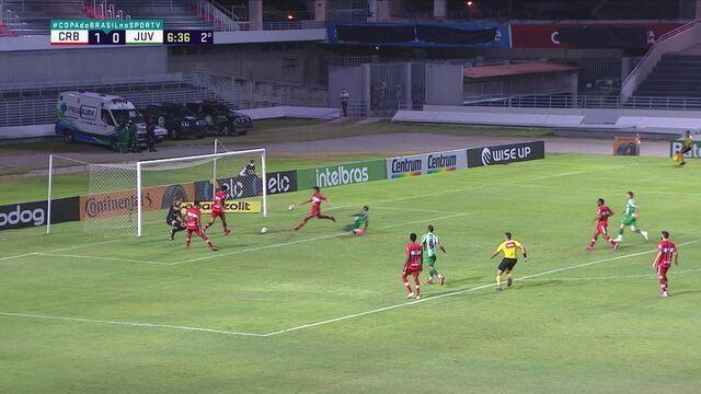 Breno Lopes recebe cara a cara com Victor Souza, chuta cruzado e o goleiro do CRB faz a defesa, aos 6 do 2º tempo