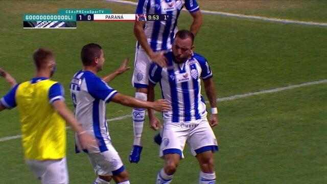 Gol do CSA! Pimpão cruza n área e Paulo Sérgio empurra para o fundo da rede, aos 9 do 1ºT