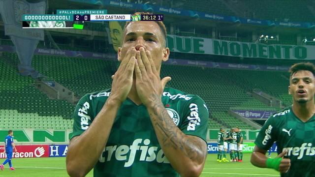 Gol do Palmeiras! Lucas Lima passa, e Breno Lopes chega chutando, aos 36 do 1ºT