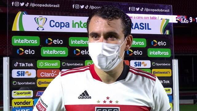 """Pablo comemora classificação e goleada em cima do 4 de Julho: """"Hoje ficou provado o tamanho do São Paulo"""""""