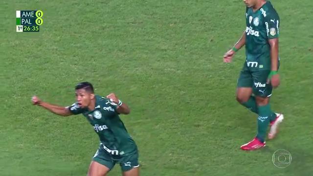 Aos 26 min do 1° tempo - Rony abre o placar e VAR valida gol para o Palmeiras contra o América-MG