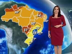 Pancadas de chuva são previstas para grande parte do Brasil no fim de semana - A previsão é de temporais entre o Amazonas e o Pará. Chove muito também no Rio de Janeiro, Minas Gerais e Espírito Santo. O tempo instável em parte do Sudeste é resultado de uma área de baixa pressão sobre o mar.
