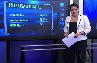 FGV diz que 51,2% dos brasileiros estão conectados no mundo digital - Uma pesquisa da Fundação Getúlio Vargas confirmou nesta terça-feira (31) que 51,2% dos brasileiros têm telefone fixo ou celular e computador com acesso à internet em casa. A média mundial é de 49%.