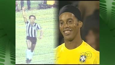Ídolos do passado e do presente se encontram na Cidade do Galo - Maior artilheiro da história do Atlético-MG, Reinaldo, e atual craque do Galo, Ronaldinho Gaúcho, se encontraram em jogo-treino entre Atlético-MG e Vila Nova-MG.
