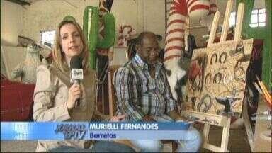 Artista de Barretos usa lona de caminhão para pintar temas originais da Terra do Peão - Ele pesquisou as tradições culturais da cidade para construir o trabalho.