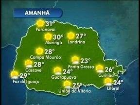 Domingo vai ser de sol em todo Paraná - O dia amanhece com temperaturas amenas, mas logo o dia esquenta.