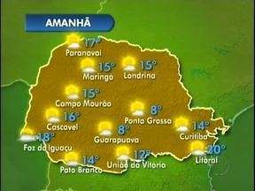 Domingo de sol em várias regiões do estado - Em Foz do Iguaçu a mínima vai ser de dezoito graus e em Pato Branco faz catorze.