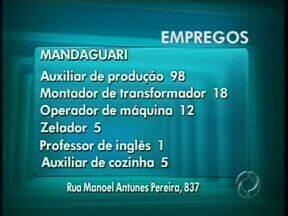 98 vagas para auxiliar de produção são oferecidas na Agência de Mandaguari - Mandaguari:98 auxiliar de produção18 montador de transformador12 operador de máquina05 zelador01 professor de inglês05 auxiliar de cozinha