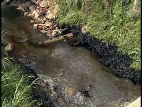 Mancha em ribeirão preocupa moradores do Xaxim - Mancha parece ser de óleo. Margens do ribeirão dos Padilhas estão marcadas, e moradores do Xaxim reclamam do mau cheiro.