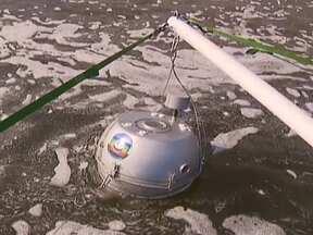 Flutuador navega na estação de tratamento da CAESB - O aparelho desenvolvido pela TV Globo em parceria com o Instituto de Pesquisas Tecnológicas visitou a estação de tratamento da CAESB, na Asa Norte, e foi verificar a qualidade da água no local.