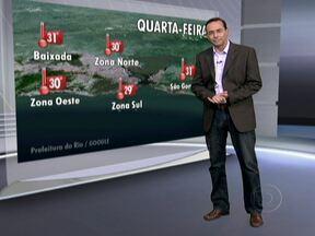 Confira a previsão do tempo para quarta-feira (12) - A cidade do Rio pode apresentar muitas nuvens e previsão de chuva leve em áreas isoladas. A máxima é de 31 graus em São Gonçalo.