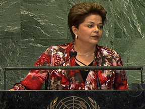 Presidente Dilma faz crítica aos países ricos na Assembleia Geral da ONU - No discurso de 24 minutos na Assembleia Geral da ONU, Dilma Rousseff falou sobre os problemas de Israel, Palestina e Síria. Defendeu o Governo no setor econômico e criticou os países ricos sobre as medidas adotadas para enfrentar a crise econômica.