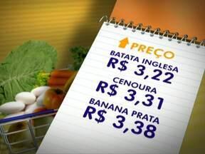 Veja o levantamento dos preços dos alimentos feito pela Emater - Três produtos da cesta caíram de preço. O cheiro verde foi o item que mais diminuiu. O maço está saindo por R$1,50. O preço da laranja e do tomate também estão mais em conta. A batata inglesa teve a maior alta em relação à semana passada.