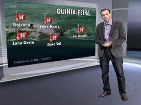 Frente fria avança no Rio na quinta-feira (11) - São esperadas pancadas de chuva que podem vir acompanhadas por trovoadas e rajadas de vento de até 60 quilômetros por hora. As temperaturas começam a cair, mas a sensação ainda será de abafamento.