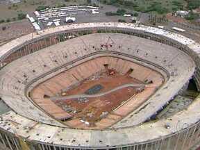Obra da parte mais alta do Estádio Nacional de Brasília fica pronta - Nesta segunda-feira (15), ficou pronta mais uma etapa da obra do Estádio Nacional de Brasília. A parte mais alta foi concluída. Foi a primeira vez que uma equipe de imprensa teve acesso ao topo do estádio, que já tem 75% da obra realizada.