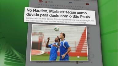 Martinez segue como dúvida no Náutico - Volante não sabe se encara o São Paulo no domingo