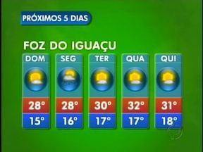 Confira a previsão do tempo para Foz do Iguaçu - Em Foz do Iguaçu, a semana será de tempo aberto, só há previsão de chuva para segunda-feira.