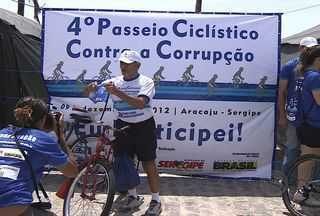 4º Passeio Ciclístico contra a Corrupção acontece neste domingo (09) em Aracaju - O esporte no enfrentamento contra a corrupção foi assim que um grupo protestou neste domingo (09) em Aracaju. O 4º Passeio Ciclístico Contra a Corrupção promovido pelo CGE e CGU.