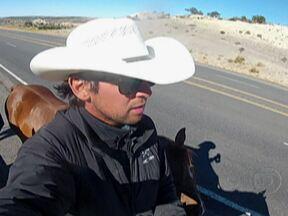 Paulista de 25 anos decide viajar do Canadá ao Brasil a cavalo - O Fantástico acompanha a aventura do paulista Filipe Leite, que segue viajando do Canadá para São Paulo a cavalo. A aventura é prevista para durar dois anos.